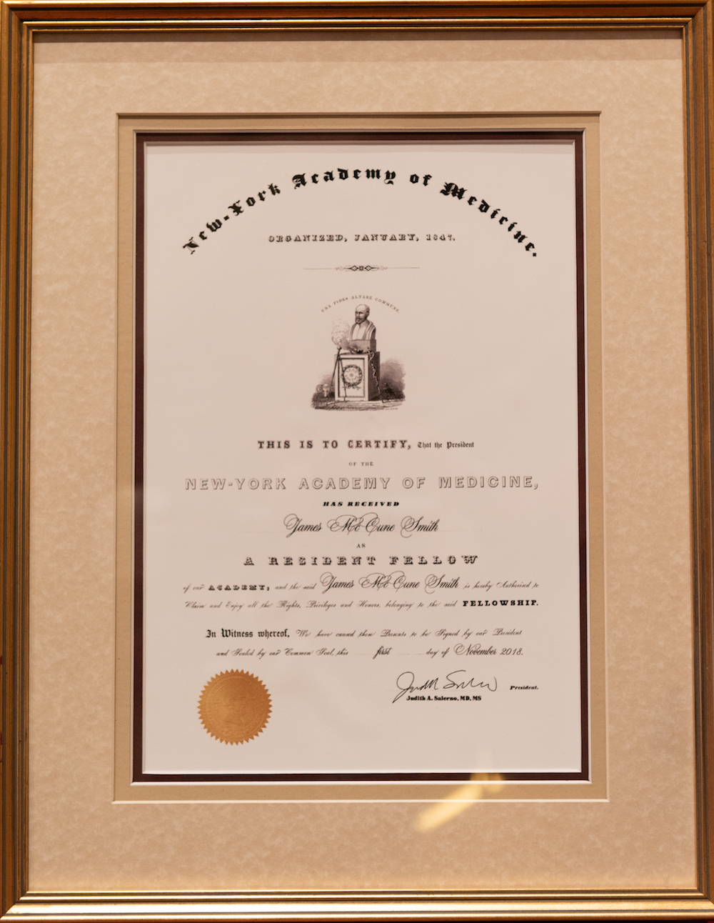 Dr. James McCune Smith's Certificate of Academy Fellowship