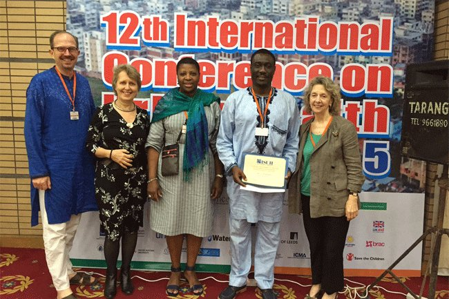 12th International Conference on Urban Health, Dhaka, Bangladesh, May 2015.    Left to Right: Anthony Kolb; Godelieve van Heteren, MD; Yonette Thomas, PhD; Alex Asakitikpi, PhD; Jo Ivey Boufford, MD