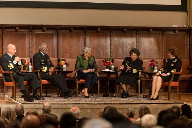 Dr. Freda-Lewis Hall moderates a discussion with the four former U.S. Surgeons General