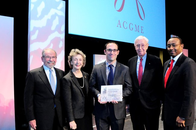 George E. Thibault, MD; Jo Ivey Boufford, MD; Brian Garibaldi, MD, recipient Barondess Fellowship; Jeremiah A. Barondess, MD; William A. McDade, MD, PhD