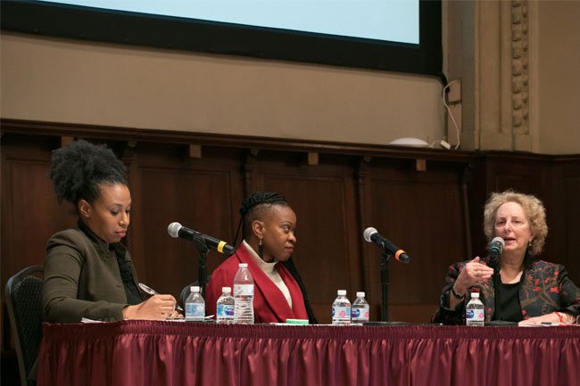 The panelists in conversation about the impact of Tuskegee on current clinical research trials.