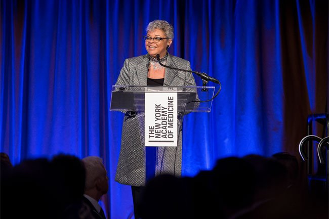 Honoree Freda Lewis-Hall addresses the 2018 Gala guests