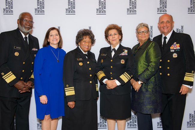Drs. David Satcher, Judith Salerno (Academy President), Joycelyn Elders, Antonia Novello, Freda Lewis-Hall (Executive Vice President and Chief Medical Officer, Pfizer) and Richard Carmona