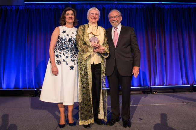President Judith Salerno and Board Chair George Thibault honor Ruth Watson Lubic