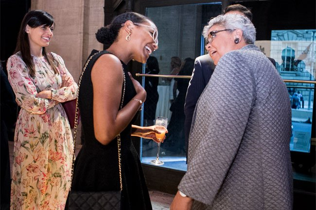 Freda Lewis-Hall engaging with guests during the evening