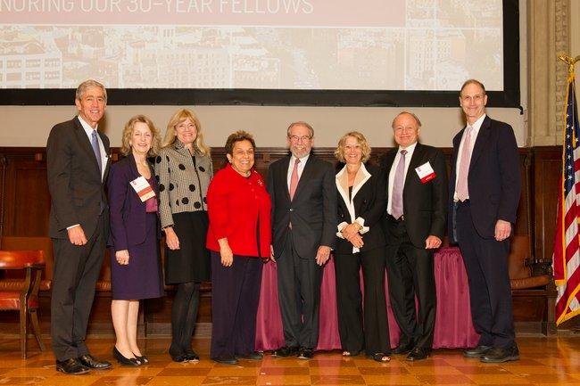 L to R, awardee Richard Lifton, MD, PhD, Jo Ivey Boufford, MD, awardee Terry Fulmer, PhD, RN, Donna Shalala, PhD, George Thibault, MD, awardees Linda Rosenstock, MD, MPH, David Olds, PhD, David Blumenthal, MD MPP