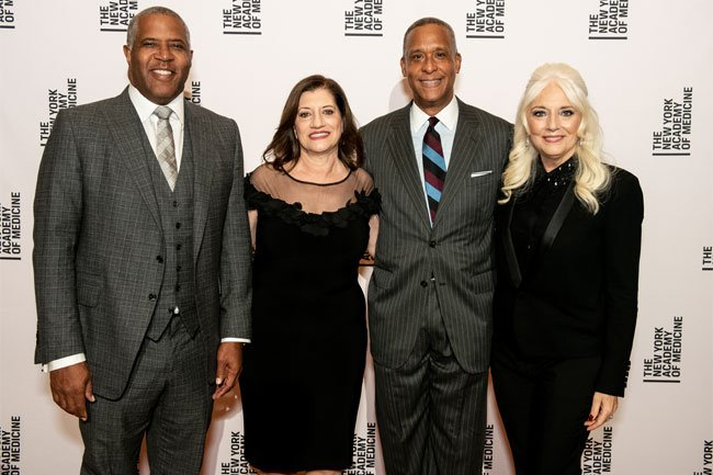 Robert F. Smith, NYAM President Dr. Judith Salerno, NYAM Trustee and SUNY Downstate President Dr. Wayne Riley, Cynthia Germanotta